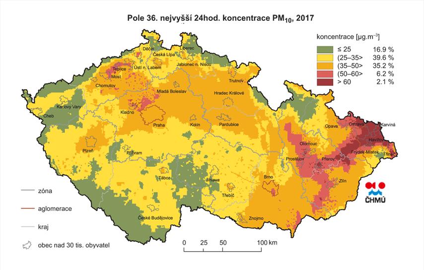 Koncentrace prachu v Evropě – mapa